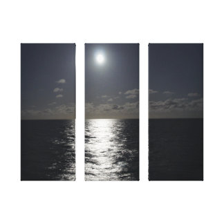 Moonlight Over the Ocean on 3 Piece Canvas