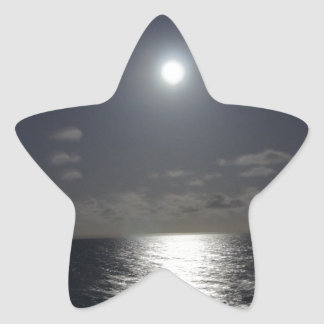 Moonlight over the Ocean Star Sticker