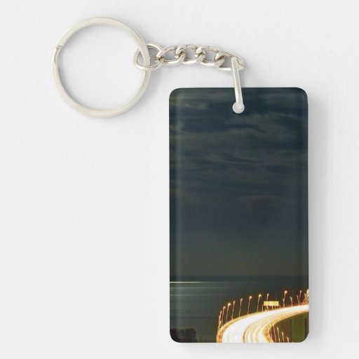 Moonlight over the Tagus River Lisbon Portugal Rectangle Acrylic Key Chain