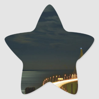 Moonlight over the Tagus River Lisbon Portugal Star Sticker