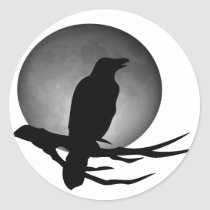 moonlight raven classic round sticker
