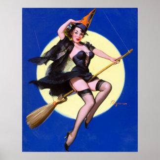 Moonlight Ride Pin Up Poster
