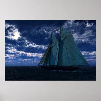 Moonlight Sailing Trip Print