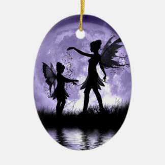 Moonlight Sihouettes Ceramic Ornament