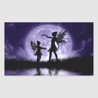 Moonlight Sihouettes Rectangular Sticker
