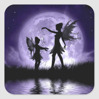 Moonlight Sihouettes Square Sticker