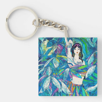 Moonlight Song Hao Ping oriental abstract lady art Keychain
