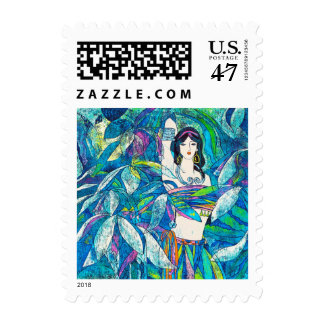 Moonlight Song Hao Ping oriental abstract lady art Postage