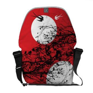 Moonlight Swallows Silhouette Branches Art Bag Messenger Bag