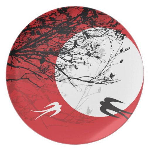 Moonlight Swallows Silhouette Branches Plate