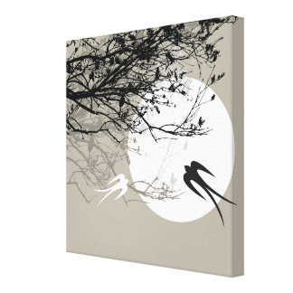 Moonlight Swallows Silhouette Gray Wrapped Canvas