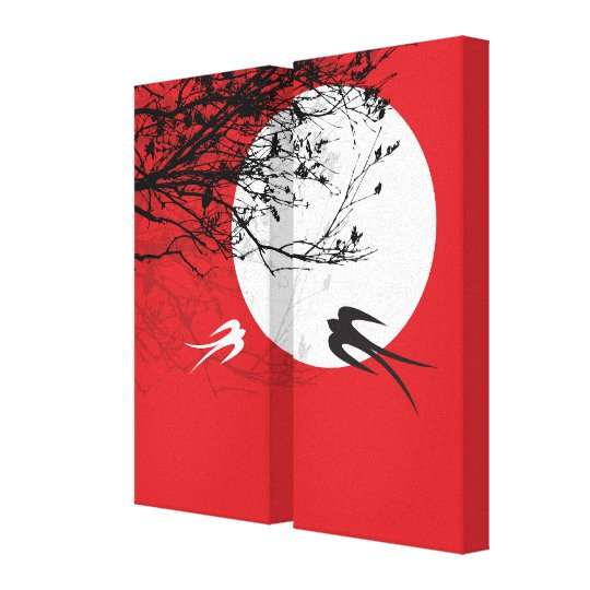 Moonlight Swallows Silhouette Red Wrapped Canvas