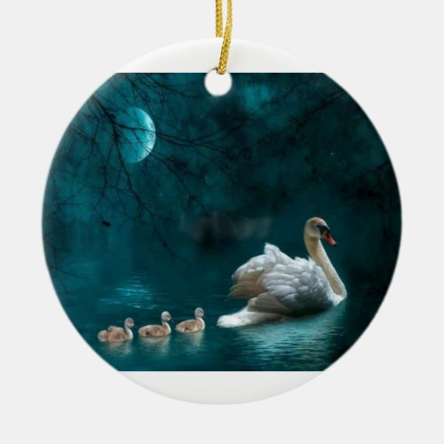 Moonlight Swan Family Swim Ceramic Ornament