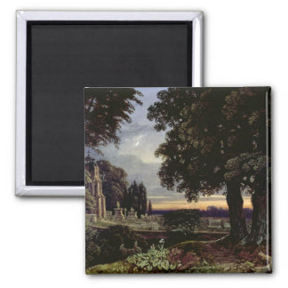Moonlight, Thoughts in a Churchyard 2 Inch Square Magnet