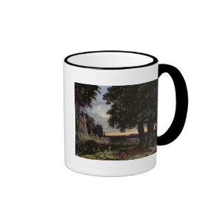 Moonlight, Thoughts in a Churchyard Ringer Coffee Mug