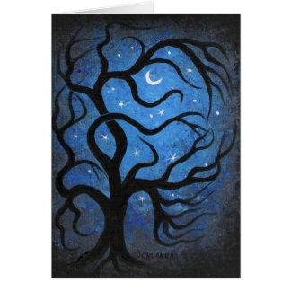 Moonlight tree greeting card