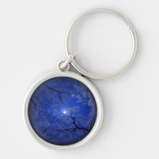 Moonlight Trees Silver-Colored Round Keychain