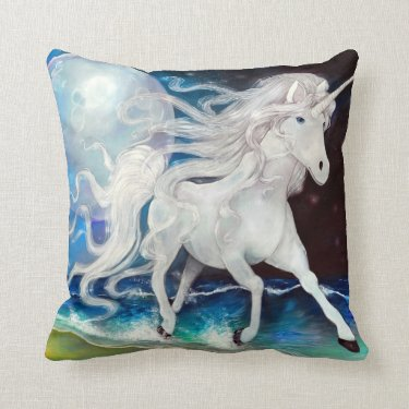 Moonlight Unicorn Throw Pillow