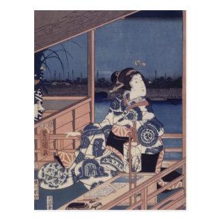 Moonlight View of Tsukuda by Utagawa Kunisada Postcard