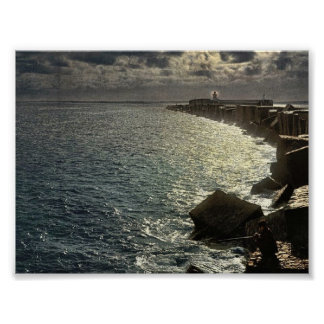 Moonlight view, with lighthouse, Algiers, Algeria Print