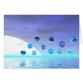 Moonlight Wonder, Abstract Journey to the Unknown Greeting Cards