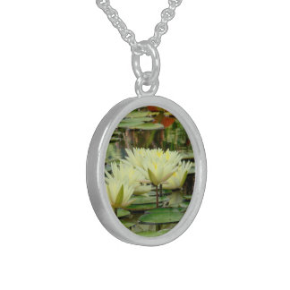 """""""MOONLIGHT YELLOW LOTUS BLOSSOMS IN LILY POND"""" ROUND PENDANT NECKLACE"""