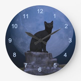 Moonlit Cat Large Clock