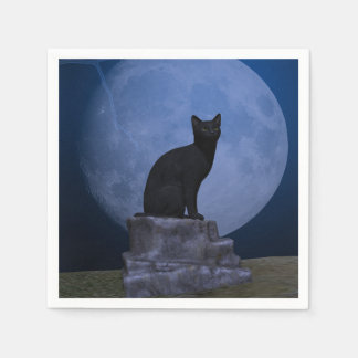 Moonlit Cat Paper Napkin