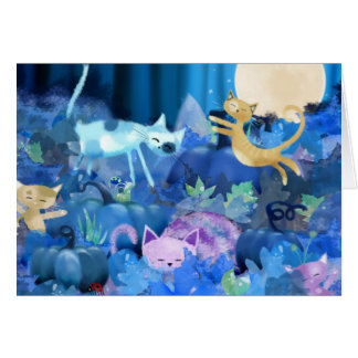 Moonlit cats and kittens card