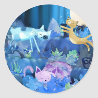Moonlit cats and kittens round sticker