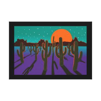 Moonlit desert with cactus canvas print