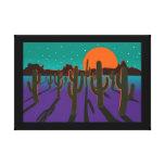 Moonlit desert with cactus canvas prints