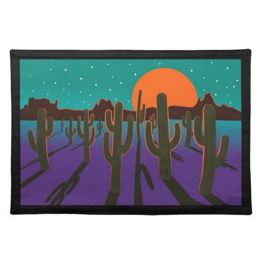 Moonlit desert with cactus. placemat