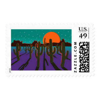 Moonlit desert with cactus postage stamps