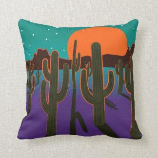 Moonlit desert with cactus. throw pillow