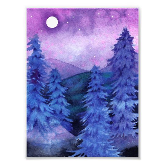 Moonlit Forest - Landscape Art Print