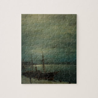 Moonlit harbour by Konstantinos Volanakis Jigsaw Puzzle