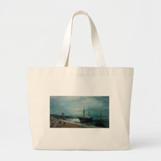 Moonlit harbour of Volos by Konstantinos Volanakis Large Tote Bag