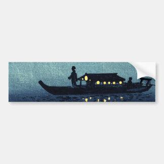 Moonlit Japanese Riverboat Car Bumper Sticker