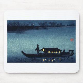 Moonlit Japanese Riverboat Mousepad