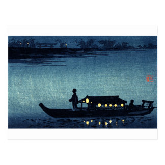 Moonlit Japanese Riverboat Postcard