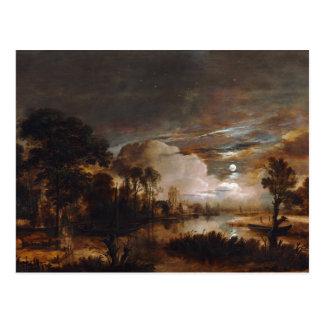 Moonlit Landscape by Aert Van Der Neer (1647) Postcard
