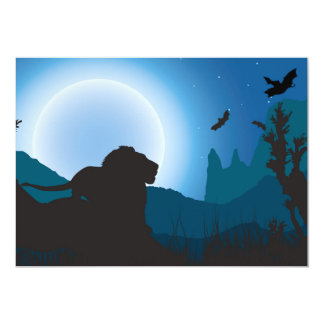 Moonlit Lion Card