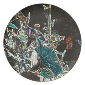 Moonlit Morning Glories Melamine Plate