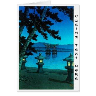 Moonlit night at Miyajima Kawase Hasui shiin hanga Cards