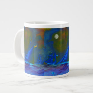 Moonlit night with ships sailing on the ocean giant coffee mug