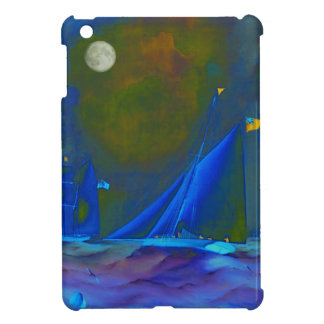 Moonlit night with ships sailing on the ocean iPad mini cases