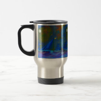 Moonlit night with ships sailing on the ocean travel mug