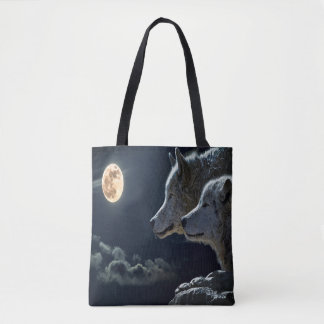 Moonlit Night Wolf Couple Tote Bag