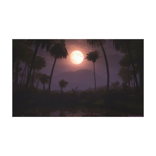 Moonlit Oasis (2012) Stretched Canvas Print